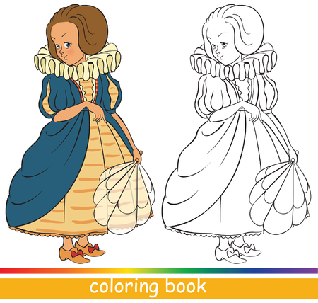Cute young princess. Fairytale characters. Coloring book or Coloring page for children Ilustracja