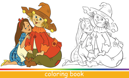 Dorothy and Scarecrow. Fairytale characters. Coloring book or Coloring page for children