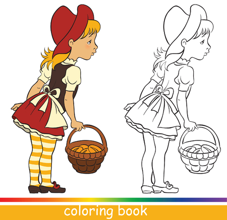 Little Red Riding Hood, Fairytale characters. Coloring book or Coloring page for children