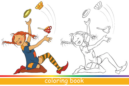 Pippi Longstocking. Fairytale characters. Coloring book or Coloring page for children