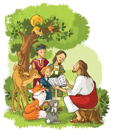Jesús con los Niños y animales. También está disponible la versión esbozado Vectores