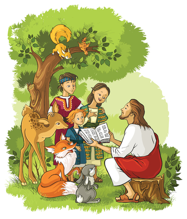 Jesus With Children and animals. Also available outlined version Stock Illustratie