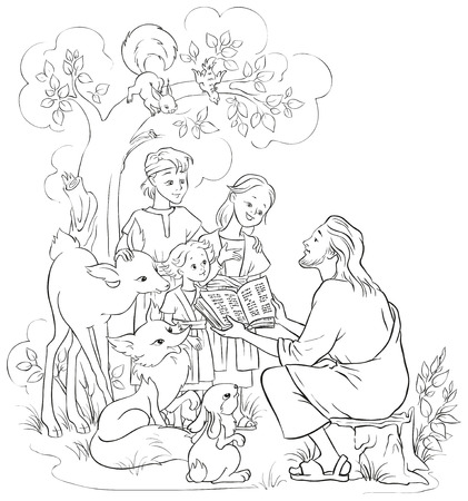 Jesus With Children and animals. Coloring page