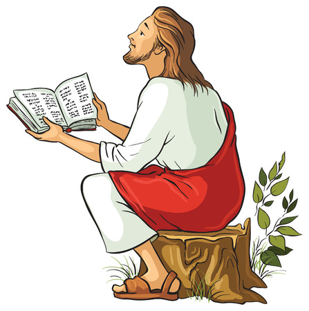 Vector illustration for Jesus reading the Bible. Also available outlined version Ilustração