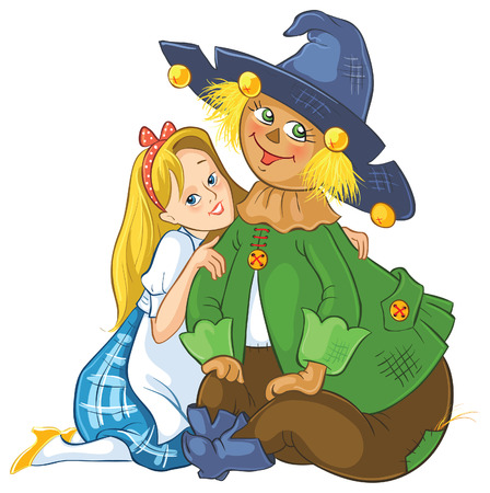 Dorothy and Scarecrow. Wizard of Oz cartoon illustration