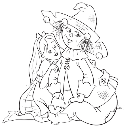 Dorothy and Scarecrow. Wizard of Oz coloring page illustration