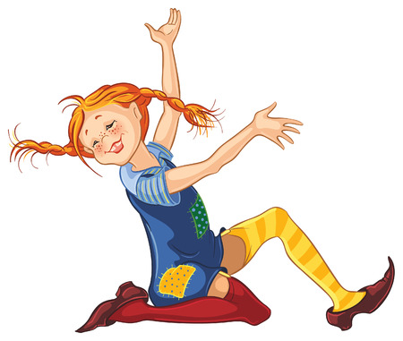 happy teenagers: Pippi Longstocking by Astrid Lindgren vector cartoon illustration