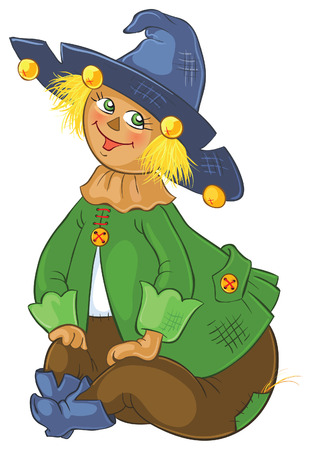 oz: Scarecrow. Wizard of Oz cartoon illustration Illustration
