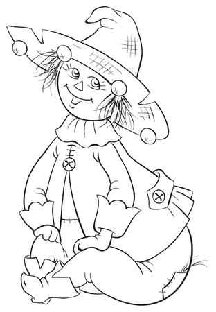 oz: Scarecrow. Wizard of Oz coloring book illustration
