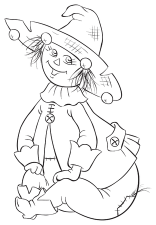 Scarecrow. Wizard of Oz coloring book illustration