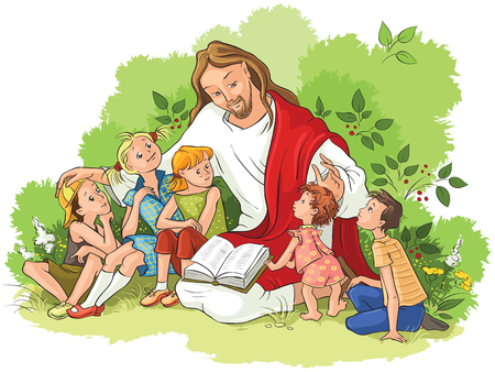 Jezus czyta Biblię dzieciom