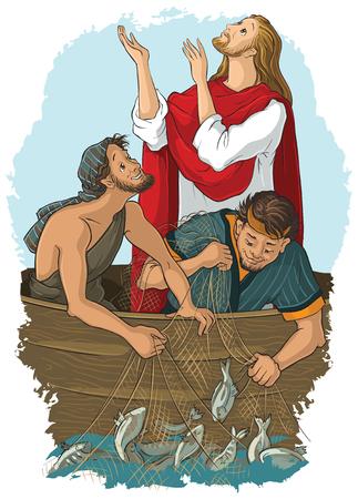 Het evangelieverhaal waar Jezus zijn zegen tot een grote vangst geeft Stockfoto - 79982927