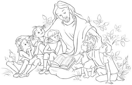 Jésus lisant la Bible aux enfants. Coloriage