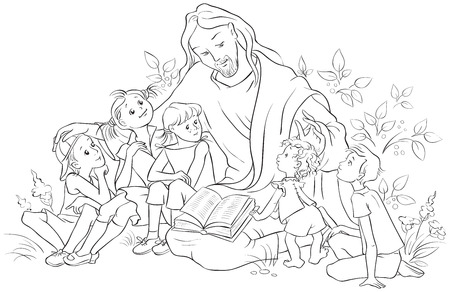 Jesus reading the Bible to Children. Coloring page Stok Fotoğraf - 80493538