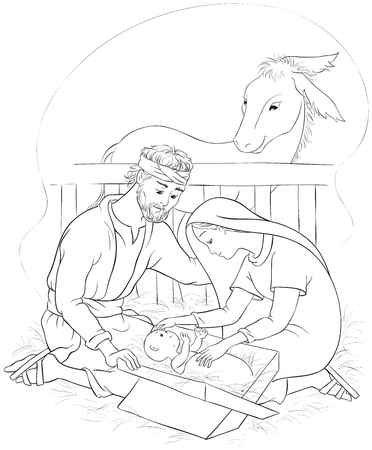 Nativity scene with Holy Family. Jesus, Mary and Joseph. Coloring page
