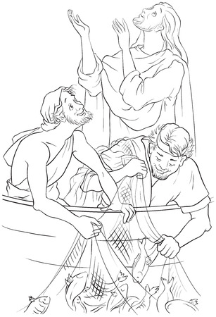 The Gospel story where Jesus gives his blessing to a great catch. Coloring page