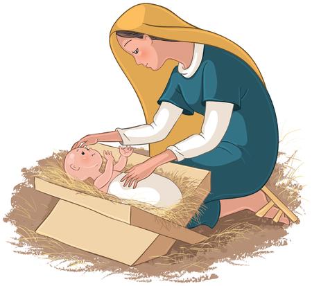 子供と母メアリー飼い葉桶のイエス ・ キリスト  イラスト・ベクター素材