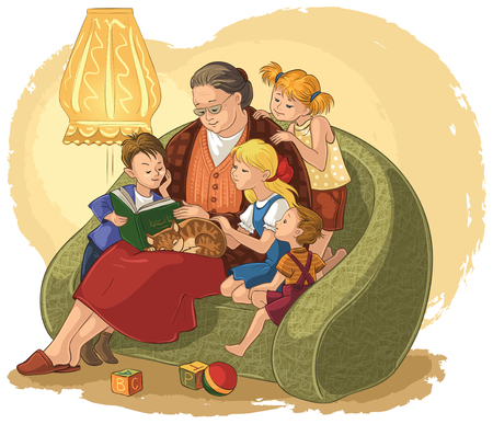 Grandchildren listening their grandmother reading a book fairy tales Illusztráció