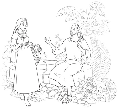 La mujer de Jesús y el samaritano en el pozo para colorear Ilustración de vector