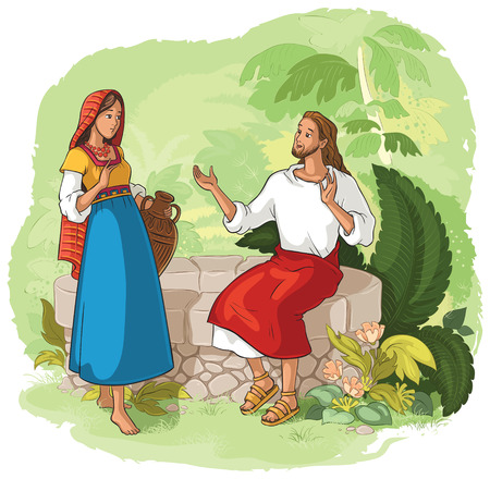 Jesus and the Samaritan Woman at the Well Stock Illustratie