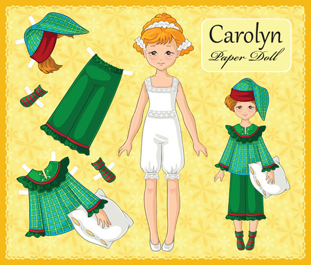 Young beautiful Paper Doll Girl with a Set of Clothes for her. Set no 2