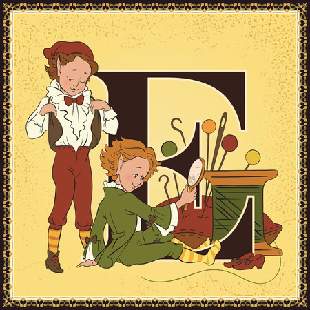 Fairytale alphabet. Letter E. Elves and the Shoemaker by the Grimm Brothers Illustration