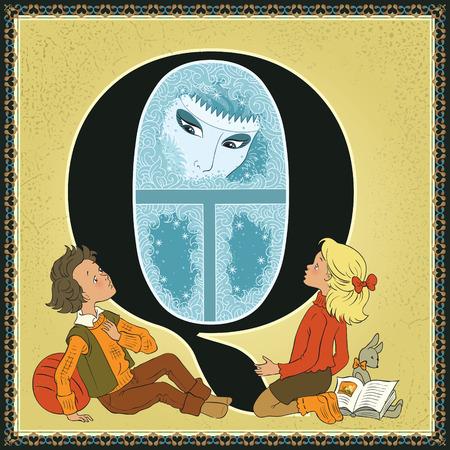 Fairytale alphabet. Letter Q. Snow Queen by Hans Christian Andersen Ilustracja