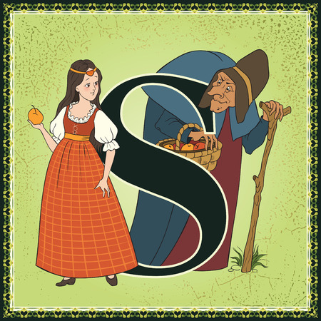 Sprookjesachtige alfabet. Letter S. Snow White door Brothers Grimm Stock Illustratie