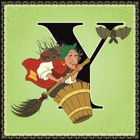 Fairytale alphabet. Letter Y. Baba Yaga from Russian Folk Fairy Tales Ilustracja
