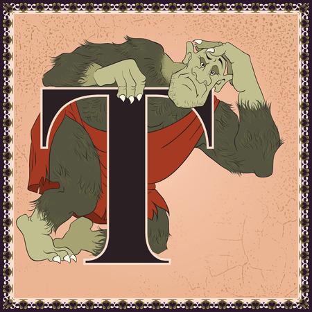 Fairytale alphabet. Letter T. Troll Ilustracja