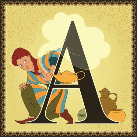 Alfabeto de cuento de hadas Letra A. Aladdin y la lámpara maravillosa. Noches árabes Foto de archivo - 89811643