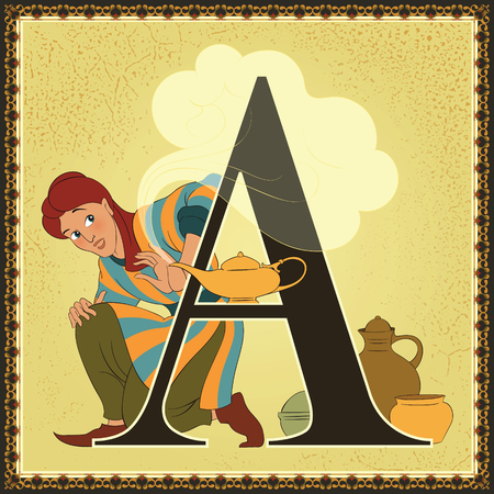 Fairytale alphabet. Letter A. Aladdin and the Wonderful Lamp. Arabian Nights