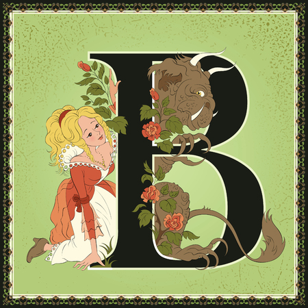 Fairytale alphabet. Letter B. Beauty and the Beast by Jeanne-Marie Leprince de Beaumont  イラスト・ベクター素材