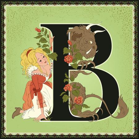 Alfabeto de cuento de hadas. Letra B. La bella y la bestia, de Jeanne-Marie Leprince de Beaumont Foto de archivo - 89531562