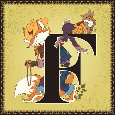 Fairytale alphabet. Letter F. Brer Rabbit and Brer Fox. The Tales of Uncle Remus by Joel Chandler Harris Ilustração