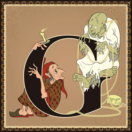 Fairytale alphabet. Letter G. Scrooge and Marleys ghost. A Christmas Carol by Charles Dickens