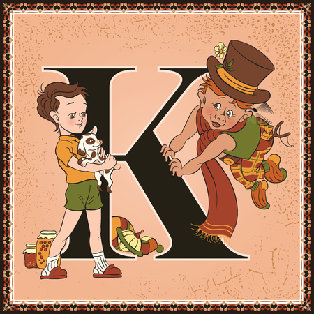 Fairytale alphabet. Letter K. Karlsson on the Roof by Astrid Lindgren