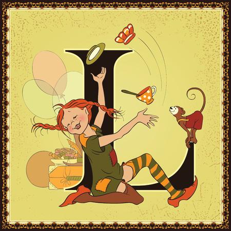 Fairytale alphabet. Letter L. Pippi Longstocking by Astrid Lindgren
