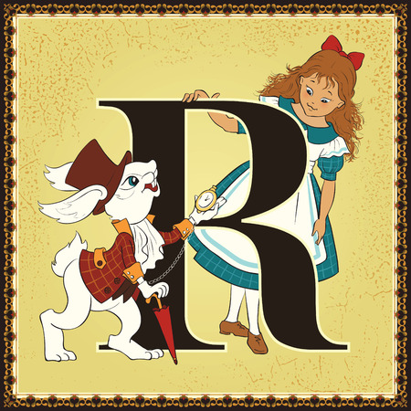Fairytale alphabet. Letter R. Alice and White Rabbit. Alices Adventures in Wonderland by Lewis Carroll Ilustração