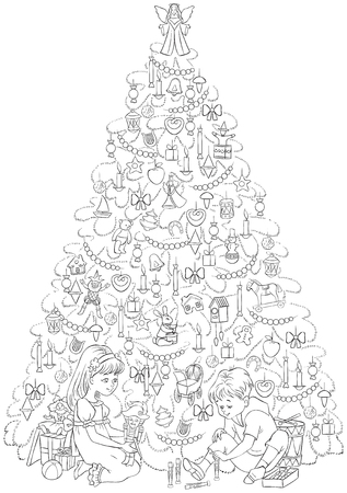 Children with presents under a family Christmas tree vector illustration