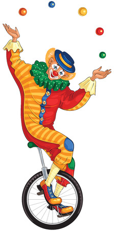 Cartoon circus clown juggling balls on unicycle