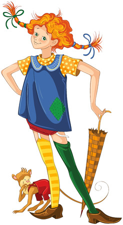 Pippi longstocking with pet monkey. Vector cartoon children illustration