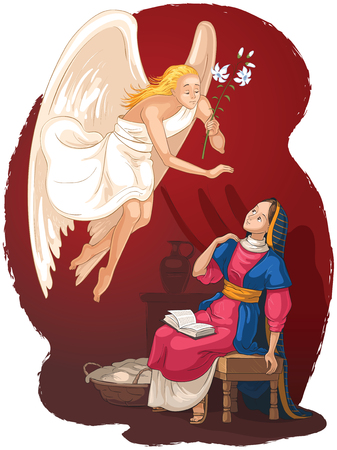 Annunciation. Angel Gabriel announcement to Mary of the incarnation of Jesus Stock Illustratie