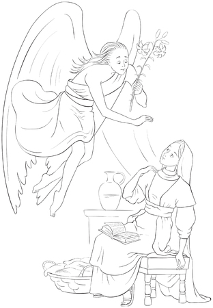 Annunciation Coloring page. Angel Gabriel announcement to Mary of the incarnation of Jesus