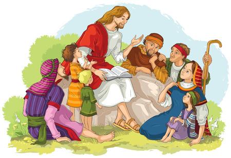 Jesús predicando a un grupo de personas. Ilustración cristiana de dibujos animados de vector