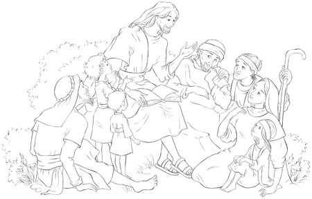 Jesus preaching to a group of people Coloring page. Vector cartoon christian illustration