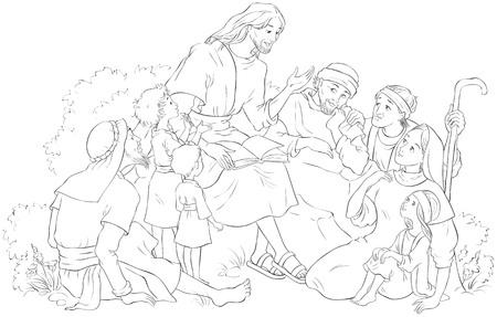 Coloriage de Jésus prêchant à un groupe de personnes. Illustration chrétienne de dessin animé de vecteur Vecteurs