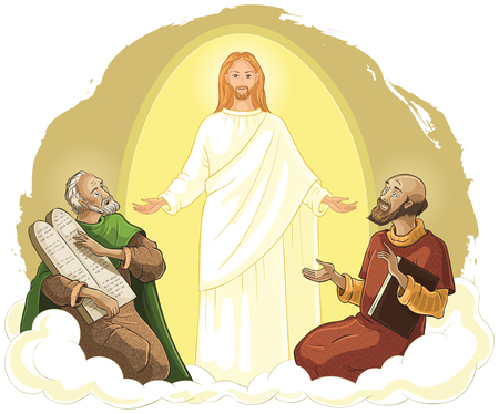 Trasfigurazione di Gesù Cristo con Elia e Mosè. Illustrazione cristiana del fumetto di vettore
