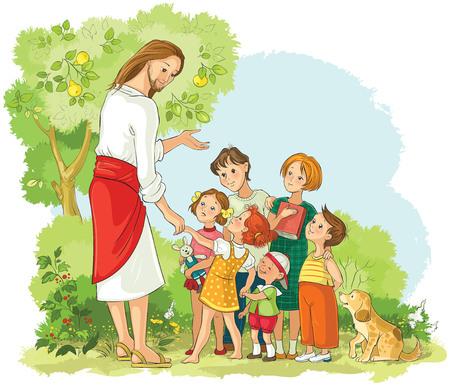Jezus met kinderen. Vector cartoon christelijke illustratie Vector Illustratie