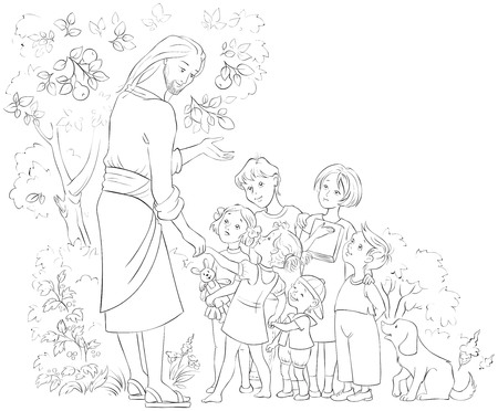 Jesus With Children Coloring page. Vector cartoon christian illustration